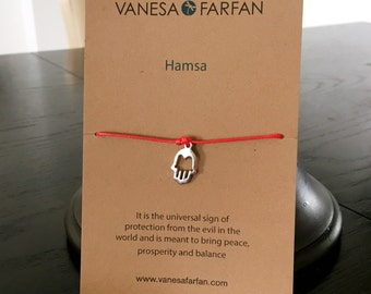 Friendship Bracelet Silver Hamsa Charm, Wish Bracelet, For Kids, Girls and Women, Adjustable, in 16 Colors