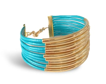 Leather and Tubes Bracelet