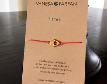 Friendship Bracelet Gold Hamsa Charm, Wish Bracelet, For Kids, Girls and Women, Adjustable, in 16 Colors