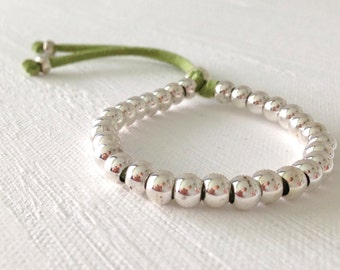 Stacking Beaded Bracelet Suede and Silver or Gold Bead, Adjustable, in 10 colors
