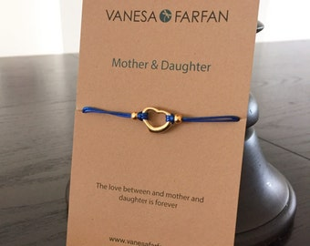 Friendship Bracelet Mother & Daughter, Open Gold Heart, For Girls and Women