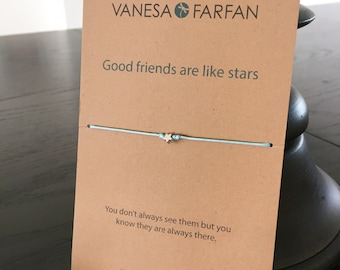 Friendship Bracelet Good Friends are Like Stars, Tiny Star, Silver, for Kids, Girls and Women, Adjustable, in 16 Colors