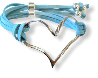 Bracelet Suede with Silver Heart, Adjustable, 10 Colors