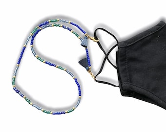 Ocean Blue Face Mask and Eyeglasses Chain