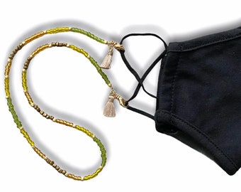 Green Forest Face Mask and Eyeglasses Chain
