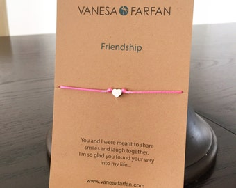 Friendship Bracelet Tiny Silver or Gold Heart, For Kids, Girls and Women, Adjustable, 16 colors