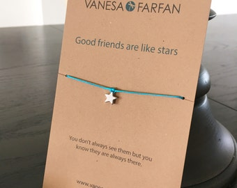 Friendship Bracelet Good Friends are Like Stars, Silver or Gold, for Kids, Girls and Women, Adjustable, in 16 Colors