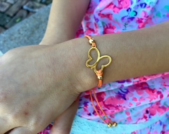 Girls Friendship Bracelet Butterfly Charm for Kids, Girls and Women, Wish Bracelet, Adjustable, in 16 Colors