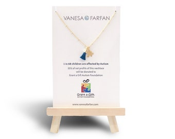 AUTISM Awareness Necklace | Tiny Gold Puzzle and Mini Tassel Necklace / 25% profit donated to Grant a Gift Autism Foundation | FREE SHIPPING