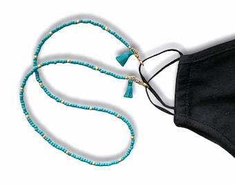 Aqua Face Mask and Eyeglasses Chain