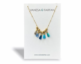 Blue Mini Tassel Necklace