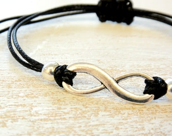 Friendship Bracelet Infinity Sign, Antique Silver or Gold for Kids, Girls and Women,Adjustable, in 16 Colors