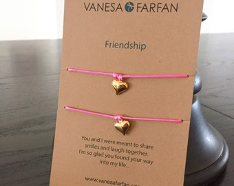 Friendship Bracelet Mother & Daughter Gold Heart, Double, For Kids, Girls and Women, Adjustable, 16 colors