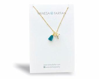Tiny Gold Pine Tree and Mini Tassel Necklace
