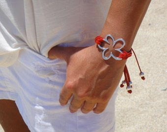 Suede and Flower Bracelet, Adjustable, in 10 Colors