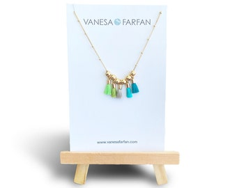 Mini Tassel Necklace / Statement Necklace / Life of the Party Necklace / Fiesta Necklace / Aqua / Silk Tassel / FREE SHIPPING