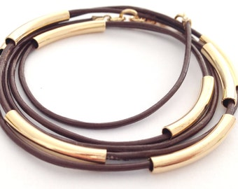 Leather and Tubes Bracelet - Available in 10 colors