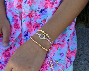 Girls Friendship Bracelet Triple, Three in One, for Kids, Girls and Women, Adjustable - Available in 14 Colors - Gold or Silver