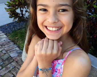 Girls Friendship Bracelet Dragonfly Charm for Kids, Girls and Women, Adjustable, in 16 Colors