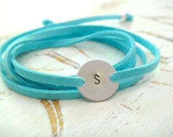 Personalized Wrap Bracelet or Necklace - Letter And Suede - Available in 10 Different Colors