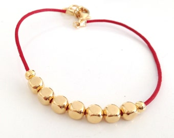 Leather Bracelet with Gold Nuggets - Available in 10 colors