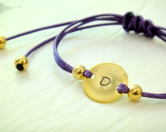 Personalized Gold Circle Charm with Adjustable Waxed Cotton Cord