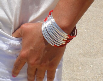 Leather Bracelet With Tubes - Available in 10 colors