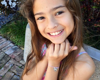 Girls Friendship Bracelet, Elephant, for Kids, Girls and Women, Wish Bracelet Adjustable, 16 Colors, Gold or Silver