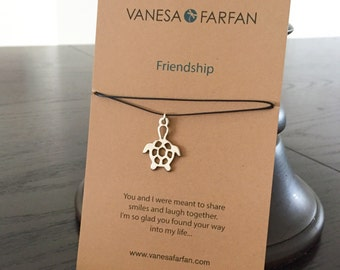Friendship Necklace, Turtle Choker, Silver, for Kids, Girls and Women, Adjustable, in 16 Colors