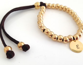 Personalized Stacking Bracelet Suede and Gold Bead, Adjustable, in 10 colors