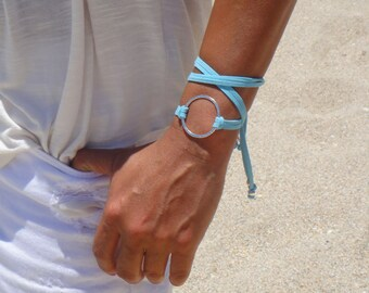 BOHO Large Silver Infinity Circle Double Wrap Suede Bracelet / Necklace