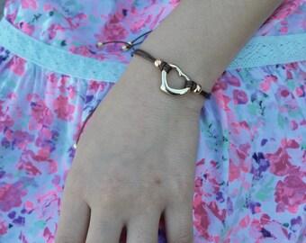 Girls Friendship Bracelet Open Gold Heart, For Girls and Women