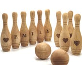 Personalized Wooden Toy - 10 Pin Bowling Game Set - Bowling Game - Wooden toys for Toddlers - Christmas Gift for Baby boy