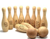 Bowling Game for Baby, First Christmas Baby Gift, Wooden Bowling Pin with Ball, Christmas Gift for Baby Boy, Personalized Bowling Game set