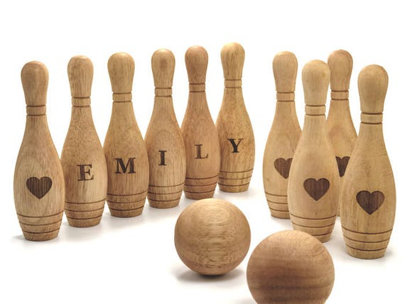 Personnalisé en bois jouet 10 Pin Bowling jeu Set Bowling jeu jouets en bois pour les tout-petits Bowling Set cadeau pour bébé cadeau de Noël pour bébé garçon