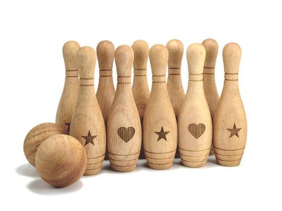 Jeu de bowling jeu 10 broche ensemble personnalisé en bois jouet Montessori bois jouet personnalisé Bowling pour cadeau de Noël bébé nouveau cadeau d'anniversaire