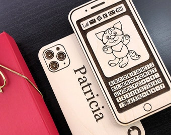 iPhone, Gift for Baby, First iPhone, Personalized Wooden iPhone, Baby's First Birthday Gift, iPhone, Custom Engraved Cell Phone, Handmade