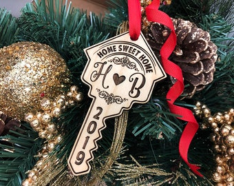 Housewarming gift - Personalized Christmas Ornament,  Personalized Key for New Home,  Our First Christmas Ornament, Home Sweet Home Ornament