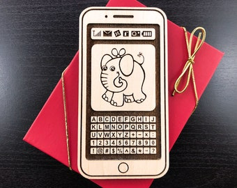Personalized Wooden Toy - iPhone 11 pro - Engraved Wooden Toy, Baby's iPhone, Custom Engraved - Personalized First Baby iPhone