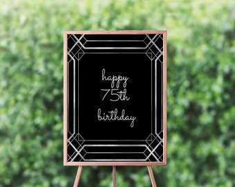 Happy 75th Birthday Sign Banner Party Decor Ideas Poster 75