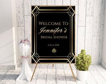 gatsby bridal shower great gatsby sign 20s invitation art deco invitation shower welcome sign art deco bride art deco love gatsby