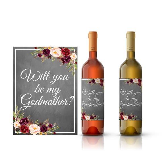 Va Vous être Mon étiquette De Vin Marraine être Ma Marraine Imprimable étiquette De Vin Vin étiquettes De Bouteille étiquette De Vin De Mariage
