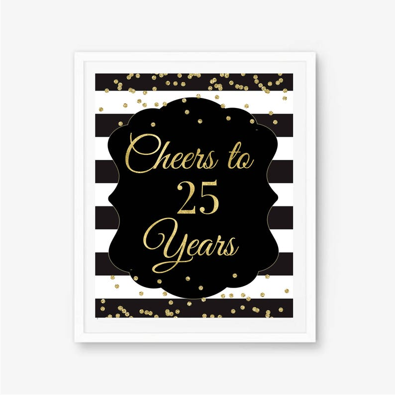 Cheers To 25 Years 25th Birthday Sign Party