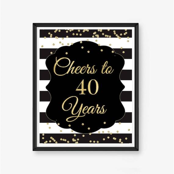 Wonderbaarlijk Cheers aan 40 jaar 40ste verjaardag teken 40ste verjaardag   Etsy NG-28
