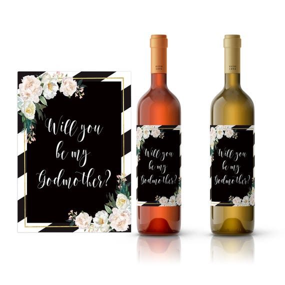 photograph about Printable Wine Bottle Label named Will by yourself be my godmother wine label, be my godmother, printable wine label, wine bottle labels, wedding ceremony wine label, godparent present, god
