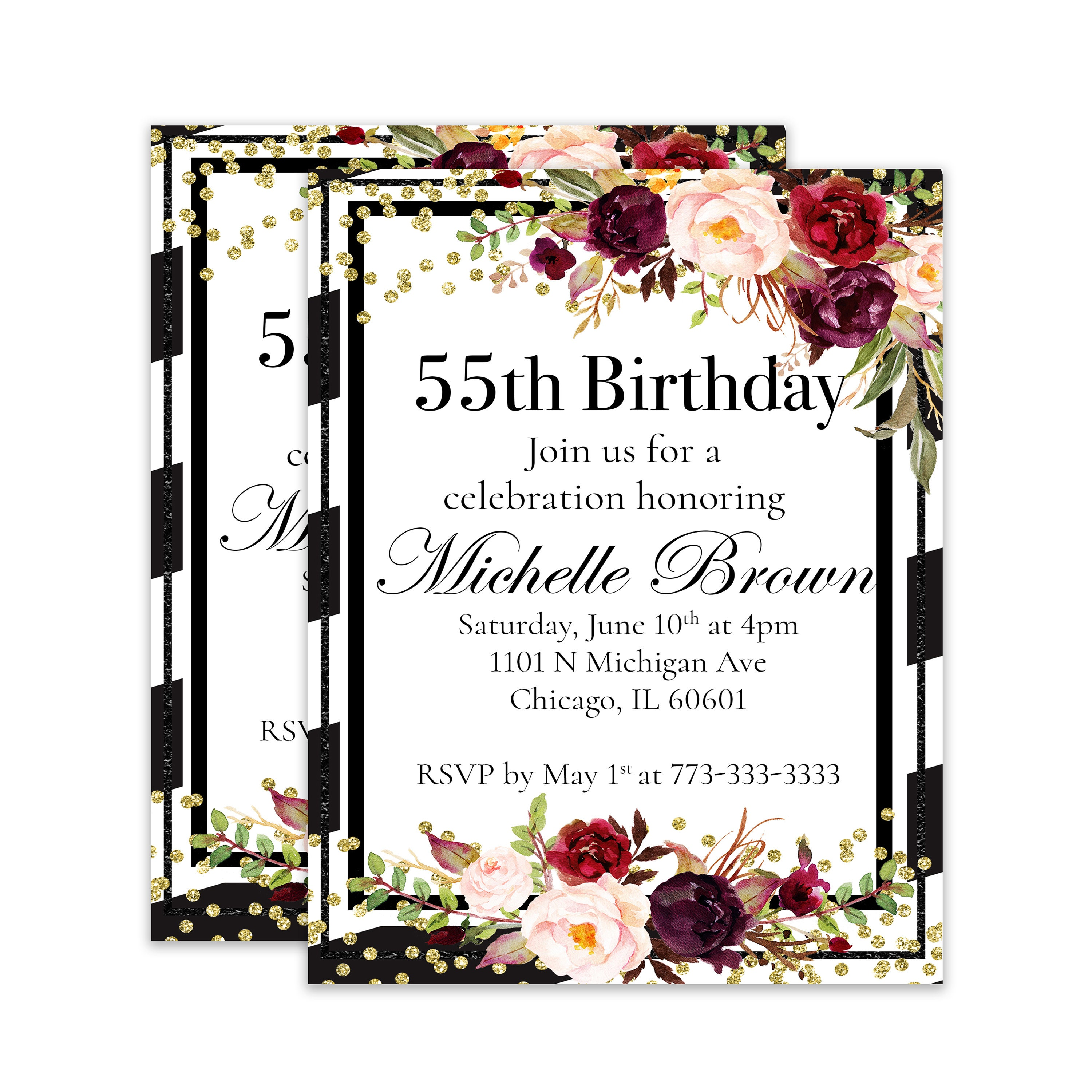 55th Birthday 55 Party Fiftieth Invitation For Her Boho Invite Its My Years Old