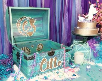 Custom Mermaid Theme Party Prop Card Box Centerpiece Birthday Keepsake Treasure Chest