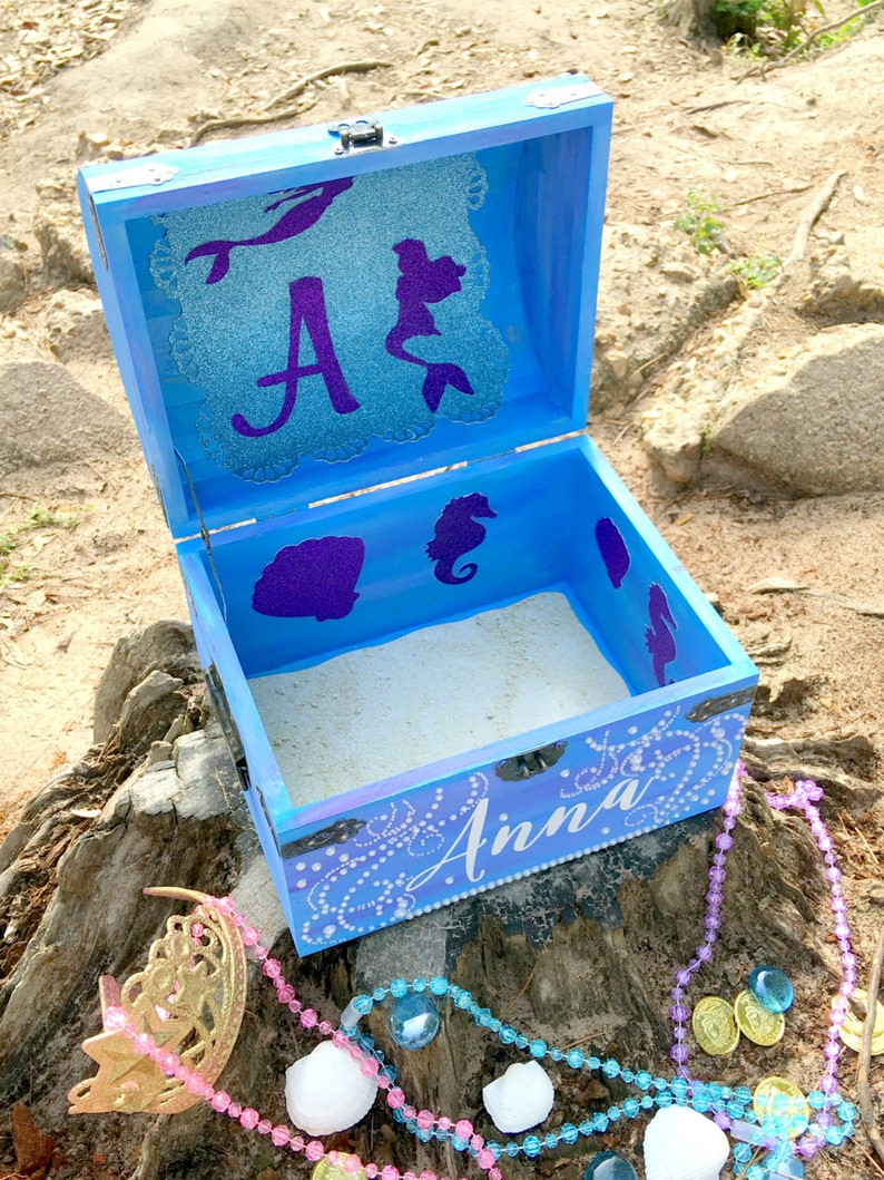 Wooden Chest Memory Box Custom Mermaid Treasure Chest Keepsake Box Treasure Chest Baby Keepsake Chest Kids Memory Chest