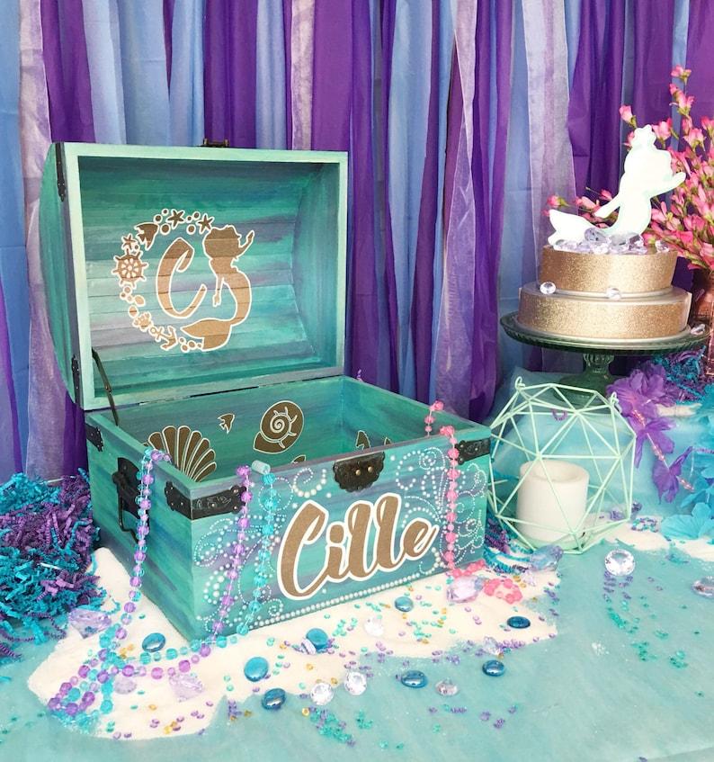 Custom Mermaid Theme Party Prop Mermaid Party Card Box Etsy