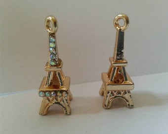 Rose Gold-plated Silver 26mm 3D Eiffel Tower Pendant